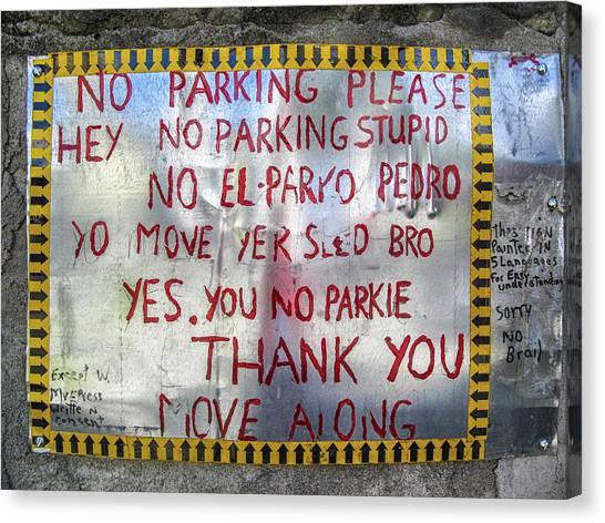 No El Parko Pedro Sign Canvas Print