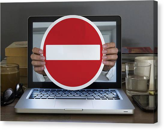 No Entry Sign Appearing Out Of Laptop Computer Canvas Print by Dimitri Otis