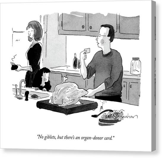 Turkey Dinner Canvas Print - No Giblets, But There's An Organ-donor Card by Danny Shanahan