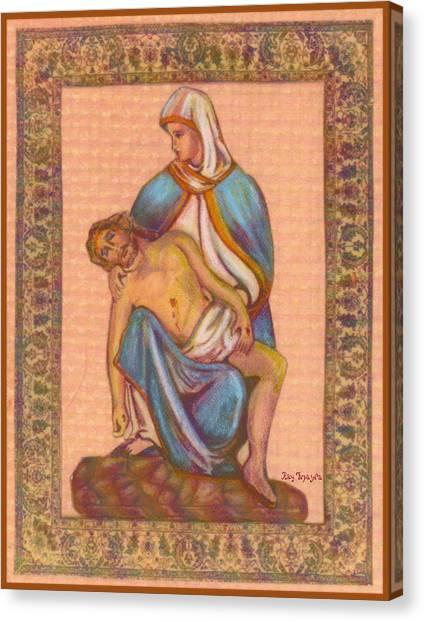 No Greater Love - Jesus And Mary  Canvas Print by Ray Tapajna