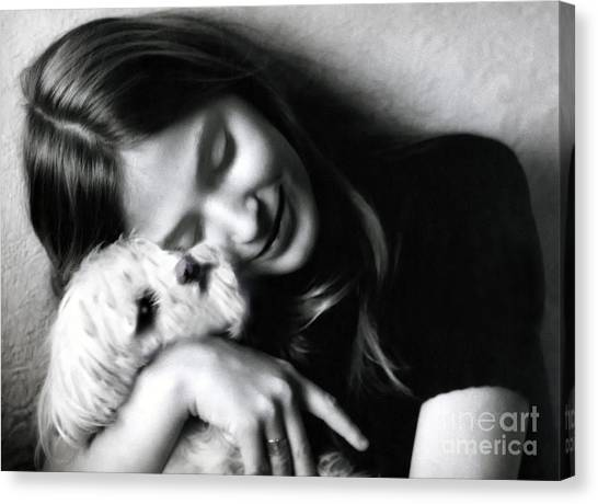 White Maltese Canvas Print - No Greater Love by Madeline Ellis