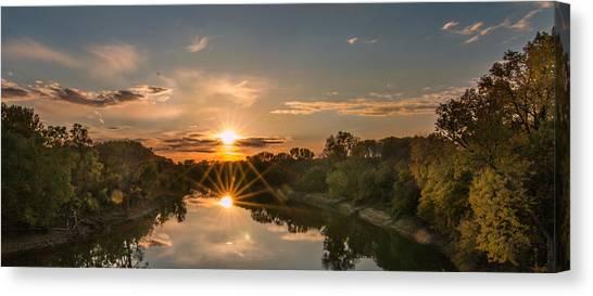 Mississippi Sunset Double Starburst Canvas Print