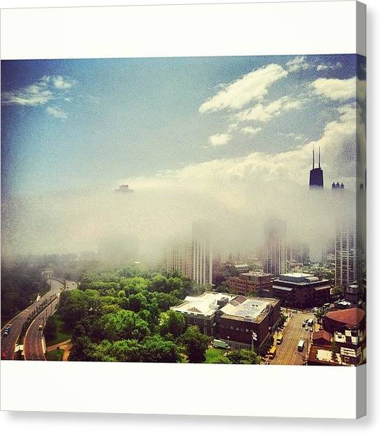 Lake Michigan Canvas Print - No Lake Today #fog by Jennifer Gaida