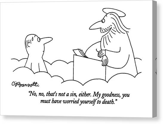 Angel Canvas Print - No, No, That's Not A Sin, Either. My Goodness by Charles Barsotti