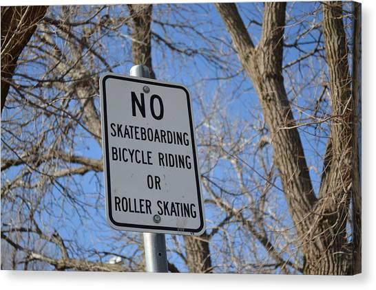 No Skating Canvas Print