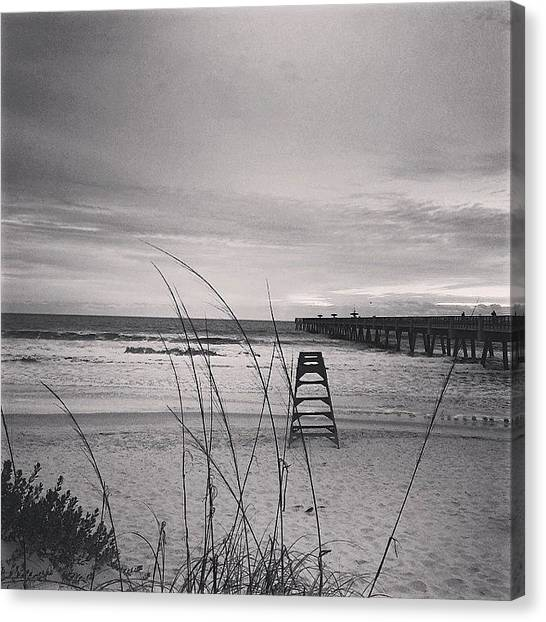 Lifeguard Canvas Print - No Sun For This #morning #sunrise by Tony Sinisgalli
