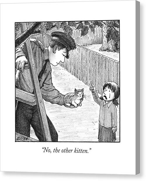 Police Officers Canvas Print - No, The Other Kitten by Harry Bliss