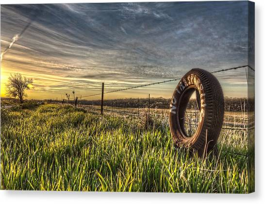 Prairie Sunrises Canvas Print - No Trespassing by Corey Cassaw