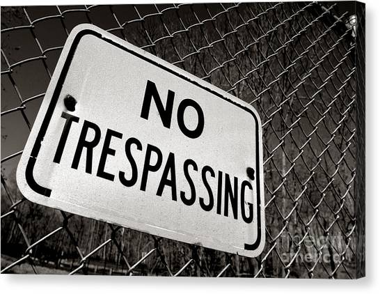 Chain Link Fence Canvas Print - No Trespassing by Olivier Le Queinec