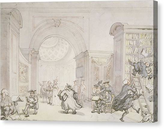 Professors Canvas Print - No.0613 The West Room And The Dome Room by Thomas Rowlandson