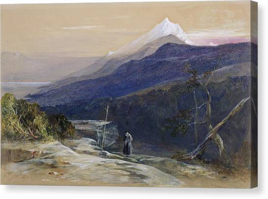 Priests Canvas Print - Mount Athos, 1857 by Edward Lear
