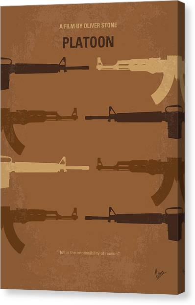 Soldiers Canvas Print - No115 My Platoon Minimal Movie Poster by Chungkong Art