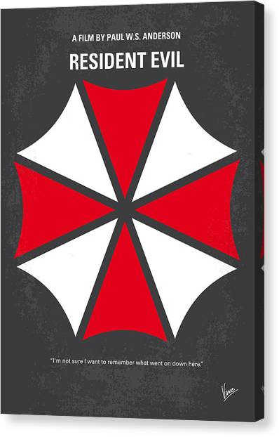 Resident Evil Canvas Print - No119 My Resident Evil Minimal Movie Poster by Chungkong Art