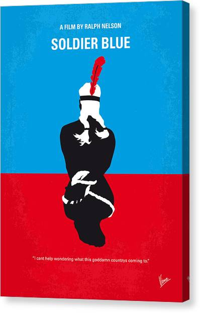 Indians Canvas Print - No136 My Soldier Blue Minimal Movie Poster by Chungkong Art