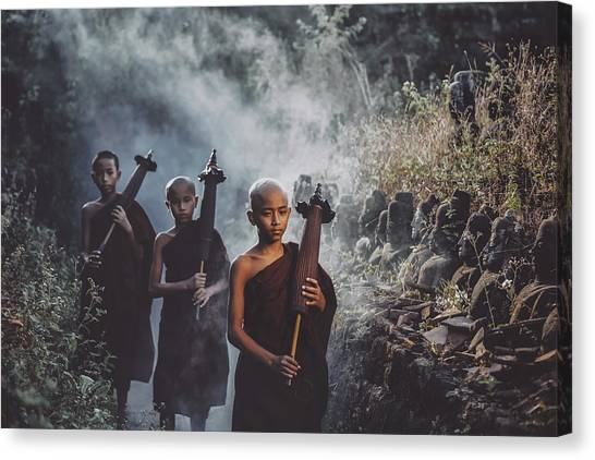 Buddha Canvas Print - No.15 by Adirek M