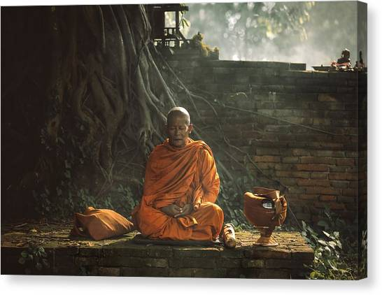 Monks Canvas Print - No.17 by Adirek M