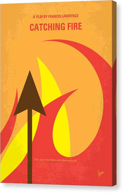 Fire Canvas Print - No175-2 My Catching Fire - The Hunger Games Minimal Movie Poster by Chungkong Art