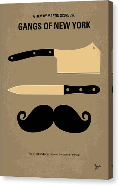 Hollywood Canvas Print - No195 My Gangs Of New York Minimal Movie Poster by Chungkong Art