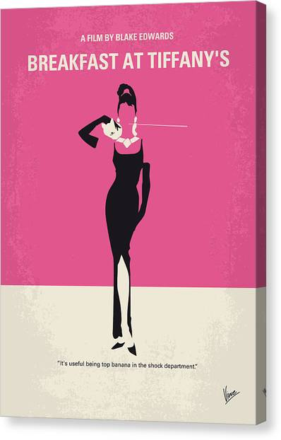 Los Angeles Canvas Print - No204 My Breakfast At Tiffanys Minimal Movie Poster by Chungkong Art