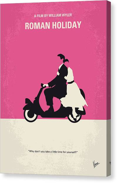 No205 My Roman Holiday Minimal Movie Poster Canvas Print