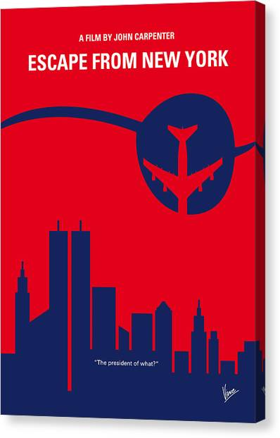 Central Park Canvas Print - No219 My Escape From New York Minimal Movie Poster by Chungkong Art
