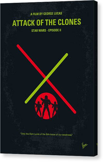 Jedi Canvas Print - No224 My Star Wars Episode II Attack Of The Clones Minimal Movie Poster by Chungkong Art