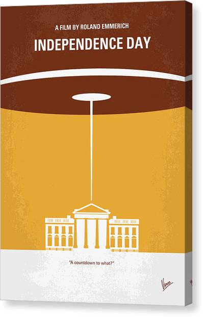 Aliens Canvas Print - No249 My Independence Day Minimal Movie Poster by Chungkong Art