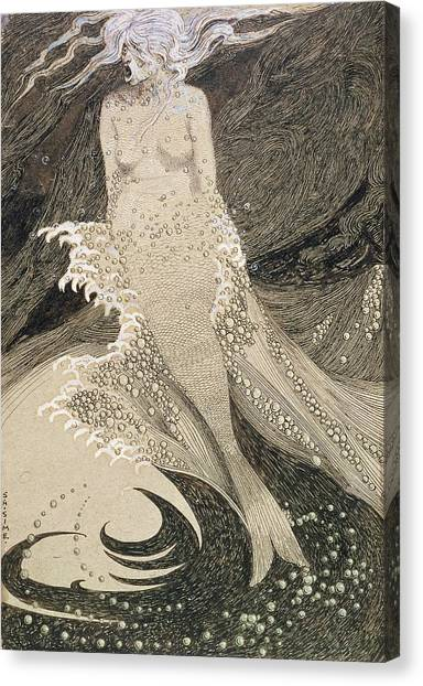 Pen And Ink Drawing Canvas Print - The Mermaid by Sidney Herbert Sime