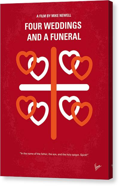 Wedding Gift Canvas Print - No259 My Four Weddings And A Funeral Minimal Movie Poster by Chungkong Art