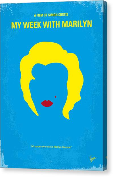 Marilyn Monroe Canvas Print - No284 My Week With Marilyn Minimal Movie Poster by Chungkong Art