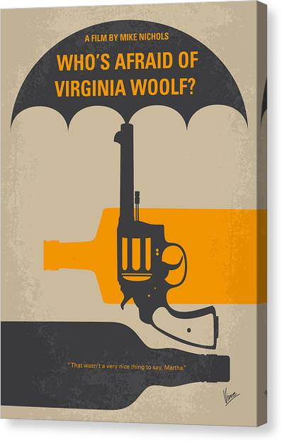 University Of Virginia Canvas Print - No426 My Whos Afraid Of Virginia Woolf Minimal Movie Poster by Chungkong Art