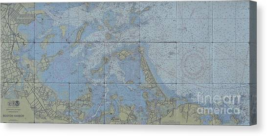 Noaa Chart Of Boston Harbor  Canvas Print