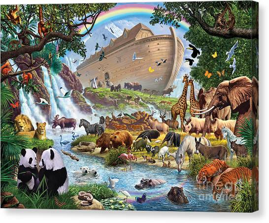 Penguins Canvas Print - Noahs Ark - The Homecoming by Steve Crisp