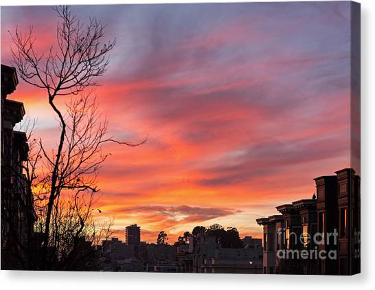 Canvas Print featuring the photograph Nob Hill Sunset by Kate Brown