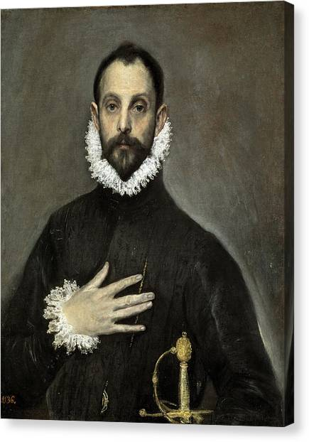The Prado Canvas Print - Nobleman With His Hand On His Chest by El Greco