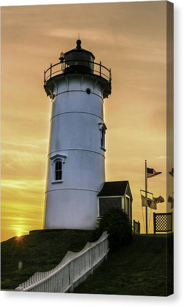 Nobska Lighthouse With Starburst Canvas Print