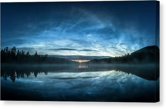 Treeline Canvas Print - Noctilucent Clouds Reflected In Water by Tommy Eliassen/science Photo Library