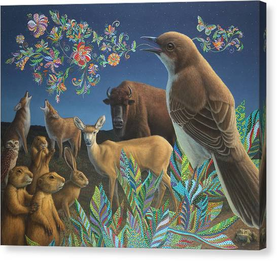 Mockingbird Canvas Print - Nocturnal Cantata by James W Johnson
