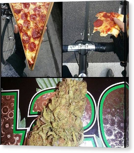 Bacon Canvas Print - #nofilter #bacon #pizza #weed #420 by Eric A. Antifa