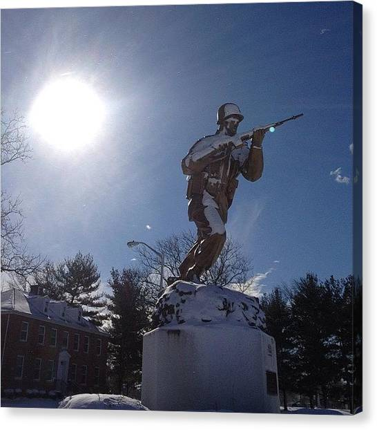 Soldiers Canvas Print - #nofilter #snow#soldier Fortdix #afb by Howard Stozki