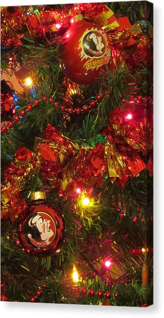 Florida State Fsu Canvas Print - Noles Christmas by Laura Lindley