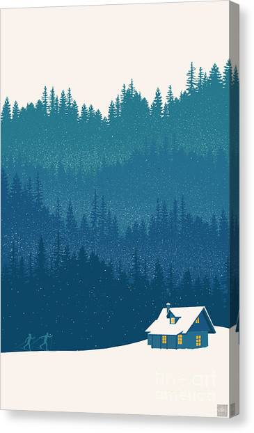 Forest Canvas Print - Nordic Ski Scene by Sassan Filsoof