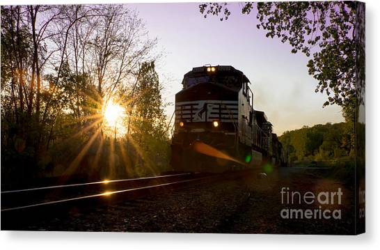 Norfolk And Southern At Sunset Canvas Print