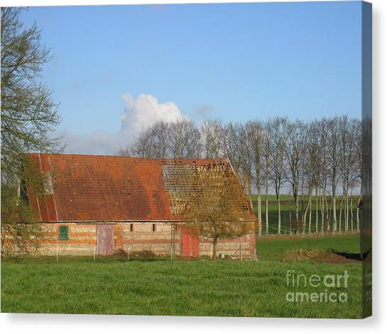 Normandy Storm Damaged Barn Canvas Print