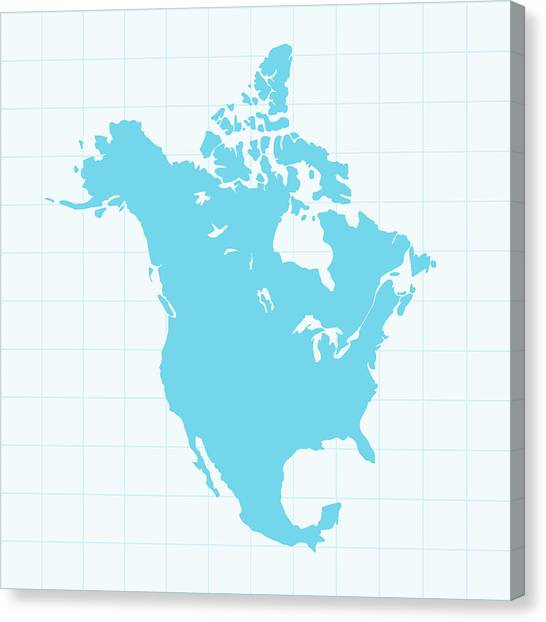 North America Map On Grid On Blue Canvas Print by Iconeer