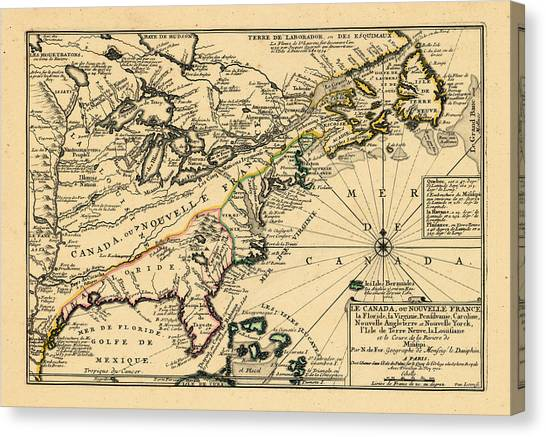 North America, United States, New York, Canada, Pennsylvania, Virginia, North Carolina, 1702 Canvas Print by Historic Map Works LLC and Osher Map Library