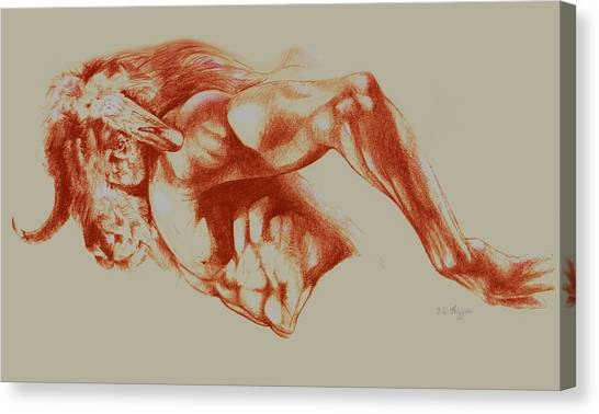 Minotaur Canvas Print - North American Minotaur Red Sketch by Derrick Higgins