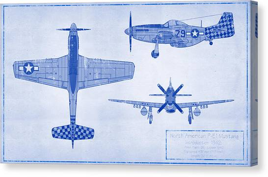 Airplane blueprint canvas prints page 11 of 19 fine art america airplane blueprint canvas print north american p 51d mustang by ryan vosburg malvernweather Images