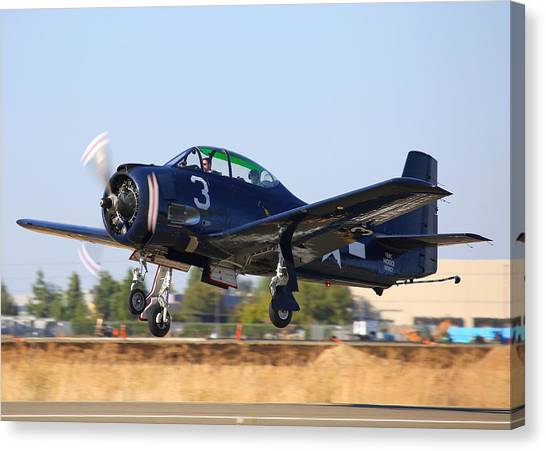 North American T-28c Taking Off N28cz Canvas Print