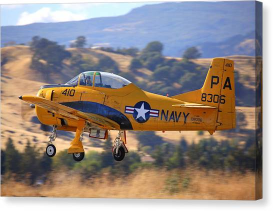 North American Trojan T-28b Nx306ww Climbing Out Canvas Print